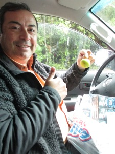 Miguel and his lucky apple - luckier than my orange, certainly.